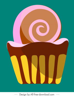 cupcake painting colorful classic flat sketch