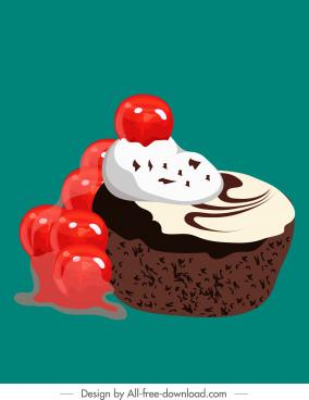 cupcake painting cream melting fruit jam decor