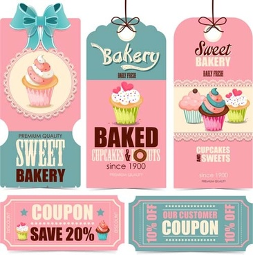 cupcake tags with card and coupon vector