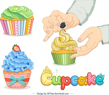 cupcakes advertising banner food hand icons decor