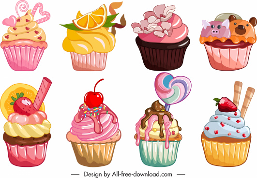 cupcakes icons collection colorful classic tasty decor