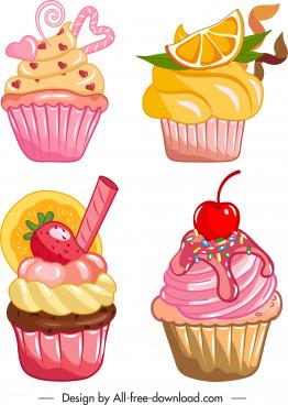 cupcakes icons colorful tasty decor classic design