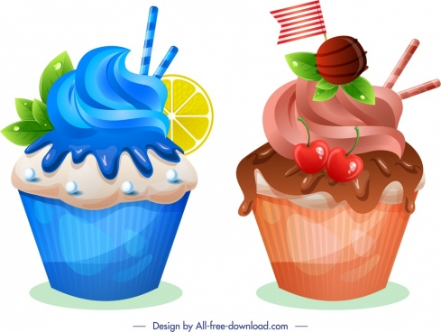 cupcakes icons modern fruity chocolate decor