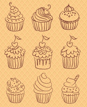 cupcakes icons sets various shapes hand drawn sketch