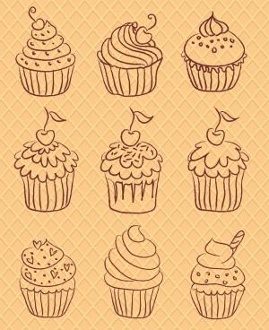 cupcakes icons sets various shapes hand drawn sketch