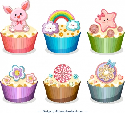 cupcakes icons templates cute colorful decor modern design