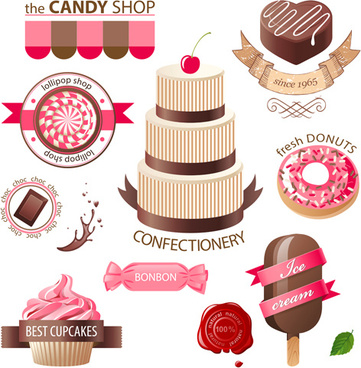 cupcakes labels with sweet vector