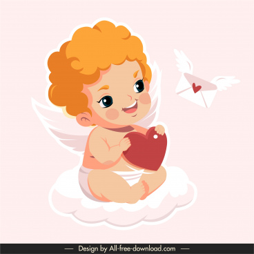 cupid icon cute winged boy sketch cartoon character