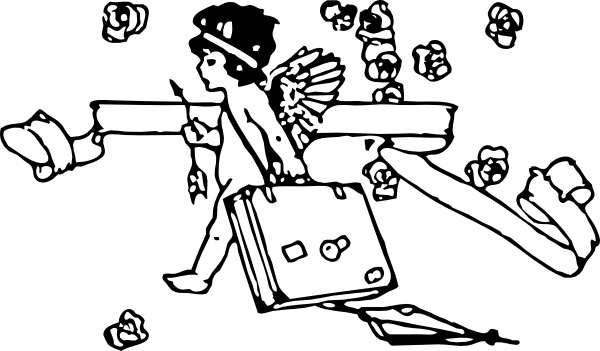 Cupid Traveling clip art