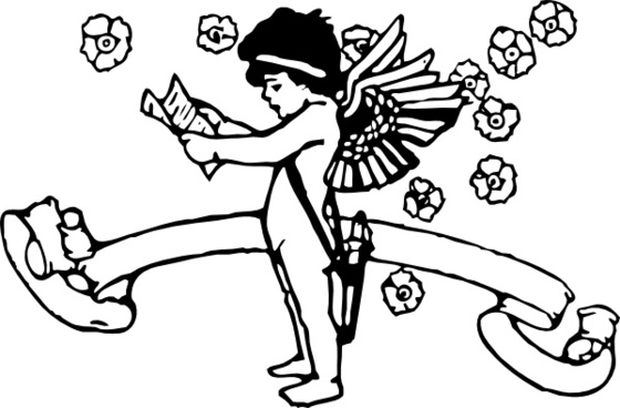 Cupid With List clip art