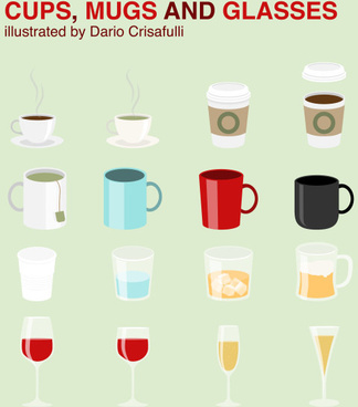cups and mugs with glass cup vector