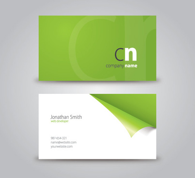 curled corner business card vector graphic