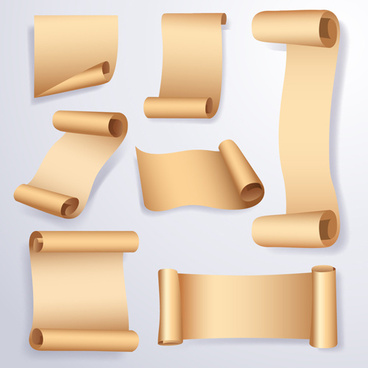 curled paper banners vector