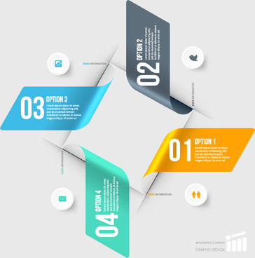curled paper numbered infographics vector