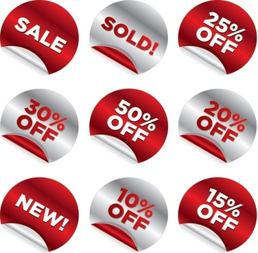 curling of the discount stickers vector