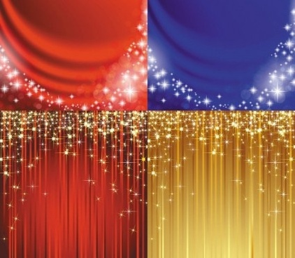 curtain with starry background vector