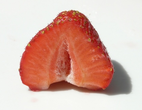 cut in half strawberry fruit