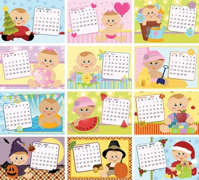 2011 calendar templates cute kid icons decor