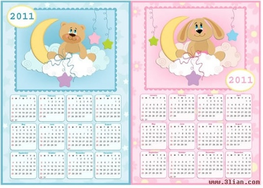 2011 calendar templates cute dog bear icons decor