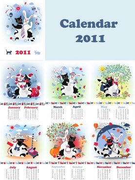 cute 2011 calendar year of the rabbit vector
