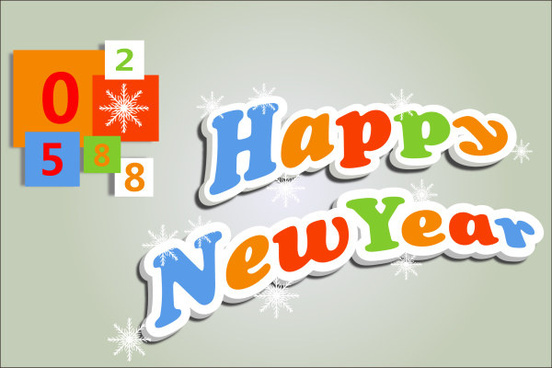 cute 3d happy new year text design vector