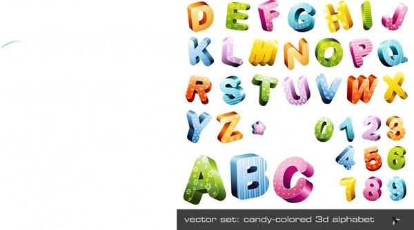 alphabet background colorful 3d icons decor