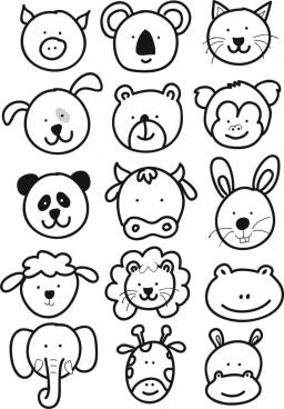 cute animal faces cartoon kids drawing