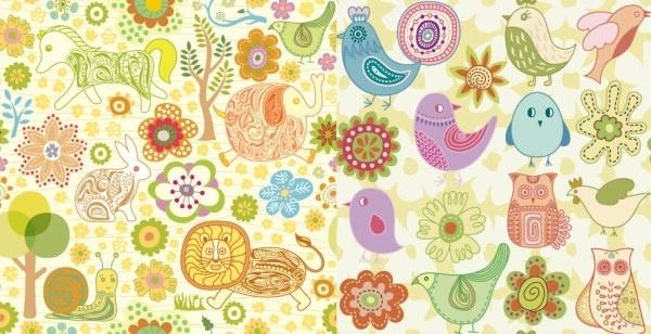cute animal flowers vector