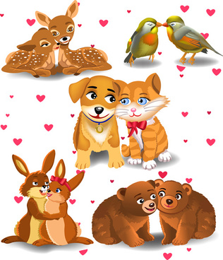 cute animal lovers vector set