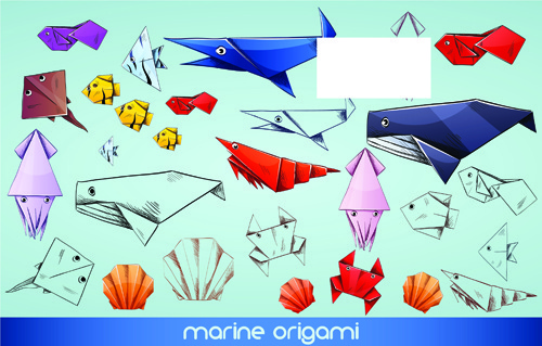 cute animal origami elements vector