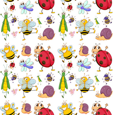 cute animal pattern cartoon vector