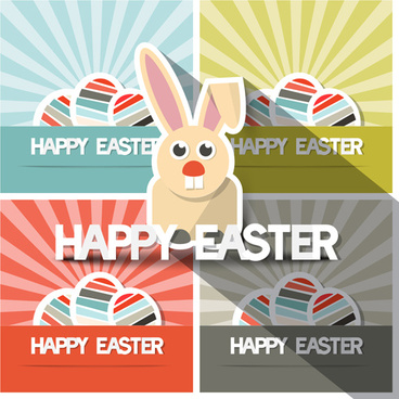 cute animal with easter cards vector