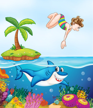 cute animals and children cartoon theme vector backgrounds