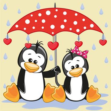 cute animals and umbrella cartoon vector