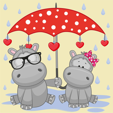 cute animals and umbrella cartoon vector