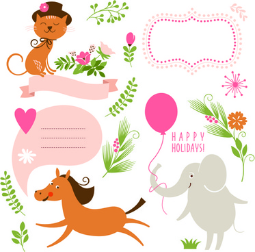 cute animals with labels design vector