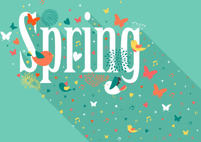 cute animals with spring background vector