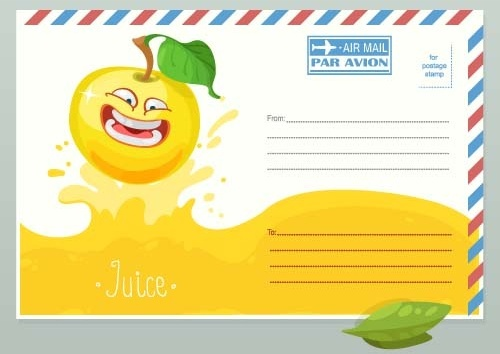 cute apple envelope vector