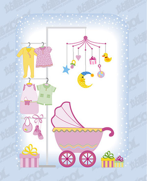 cute baby design elements vector graphic set