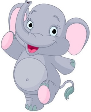 cute baby elephant dancing vector