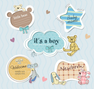 cute baby frames with text label vector