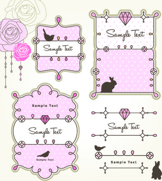 cute baby hand drawn frames vector