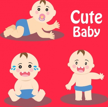 cute baby icons collection various posing gestures
