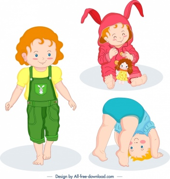 cute baby icons colored cartoon characters