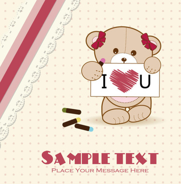 cute baby shower cards vector set