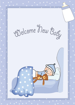 cute baby style postcard design vector
