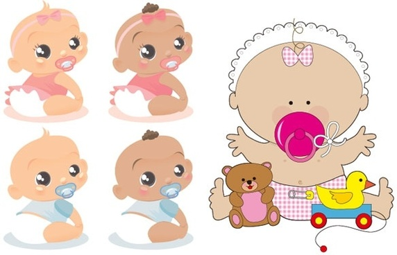 cute baby vector of foreign