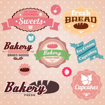 cute bakery with sweets labels vector