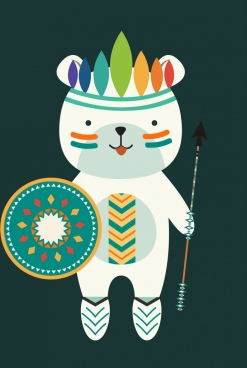 cute bear icon tribal make up decoration