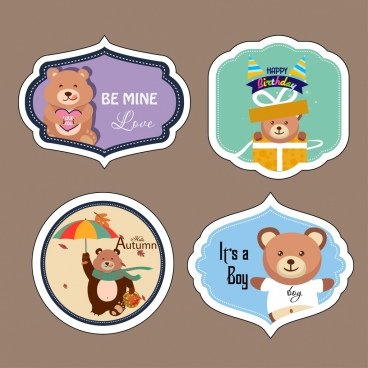cute bears stickers sets various colored flat shapes